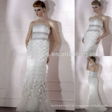 NY-2569 Best White Floral Crystals Strapless Evenng Dress