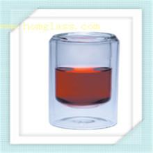 Caneca de copo de vidro de parede dupla de borosilicato