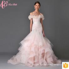 2017 rosa Hochzeit Brautkleider Meerjungfrau aus Schulter schwere Spitze Applique