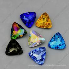 Pierres de bijoux en cristal en vrac Triangle 15mm Point Back Stones