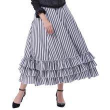 Belle Poque Retro Vintage Gothic Style Black & White Stripes Bustle Skirt BP000354-1