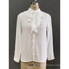 camisa chiffon branca das mulheres