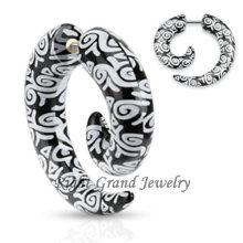 UV Acrílico Ear Stretcher Piercing Logo Print Fake Spiral