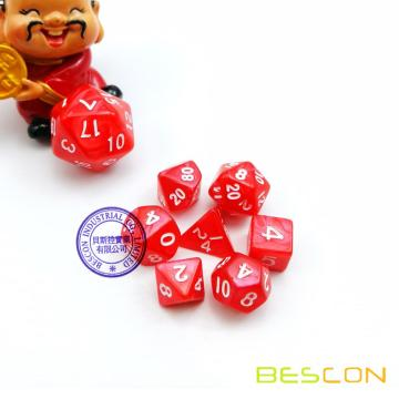 Mini tamaño Polyhedral 7-Die Set D4 D6 D8 D10 D% D12 D20 para RPG Dungeons and Dragons Game Dice