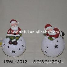 2016 navidad ornamento de cerámica con santa y bola de nieve