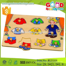 Stock and OEM preschool educational wooden boy dress peg puzzle game for kids