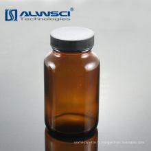Bouteille en verre ambré à petite bouche 60ML à bouche large pour usage en laboratoire
