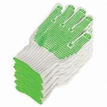Seguridad trabajando guantes de algodón de punto con puntos de PVC