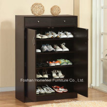 Gabinete de armazenamento de sapato de madeira de 5 prateleiras