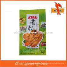 Saco de plástico de vácuo de gusset lateral sensível ao calor para embalagens de biscoitos