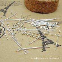 Sterling silver DIY accessories number N ° de forme en forme d'aiguille ou tête plate SEF008