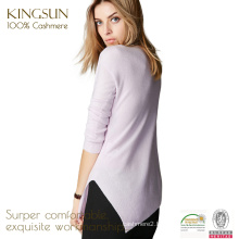 JS-12014 pure color round neck slim pattern 100%cashmere ladies fancy sweater