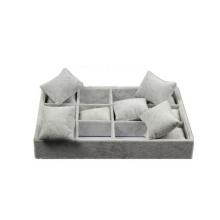 Custom Grey Velvet Watch Bandeja Pillow inserta caja