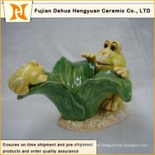 Decoración del jardín Artesanía de cerámica encantadora de la rana (decoración casera)