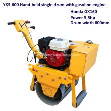 Rolo compactador de rodas de aço simples tipo gasolina