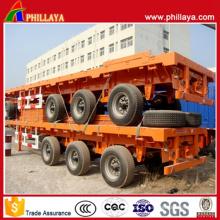 Phillaya Brand Tri-Axle Recipiente Semi-Reboque Flatbed