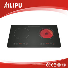 New Touch Control Two Burner Cooker, Induction Cooker with Infrared Cooker