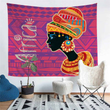 Four Seasons Polyester Tapestry with 3D Printed African Style Women Pattern
