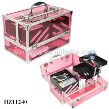 clear red acrylic cosmetic case with 4 plastic trays inside from China manufacturer