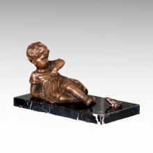 Kinderfigur Statue Frosch Mädchen Kind Bronze Skulptur TPE-981