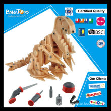 New 3D intelligence toys wooden dinosaur DIY toy
