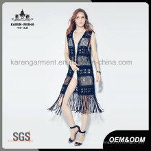 Lady′s Fashion Black Fringe Swimwear Cardigan