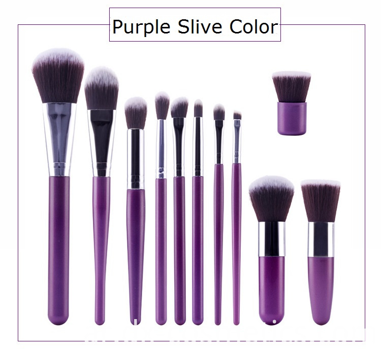 Purple Slive Makeup Brush Set Color