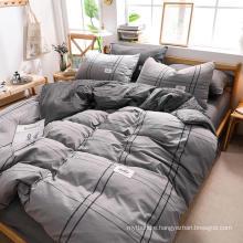 Wholesale Apartment 4 PCS King Bed Fashion Style Cotton Fabric Bedding Set Gray Plaid