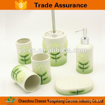 100% Hand Painted Yellow flower Ceramic Bathroom Set