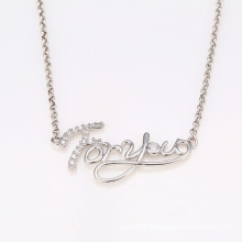 Xuping cadena larga rodio corazón en forma de collar de la joyería de la CZ con Words'for You '41919