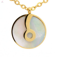 316l stainless steel long chain design yellow gold disc circle pendants wholesale