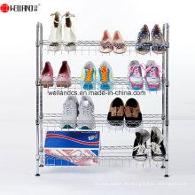 Organizador ajustable del estante del zapato del alambre de metal del cromo de 4 niveles DIY