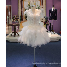 New Arrival 2017 Short Wedding Dress with Illusion Neckline