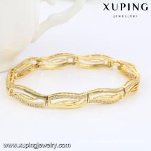 74468 moda elegante 14k chapado en oro CZ diamante pulsera de la joyería de imitación para las mujeres