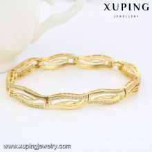 74468 Fashion Elegant 14k Gold-Plated CZ Diamond Imitation Jewelry Bracelet for Women