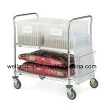 NSF Adjustable Chrome Metal Service Trolley for Hospital (TR904590A2CW)