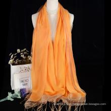 Borlas lenço de seda cachecol dupla camada com design de lã para senhora