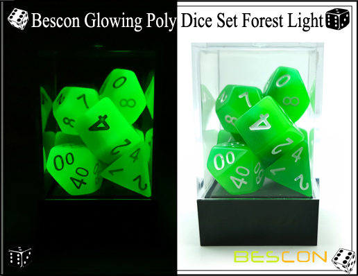 Bescon Glowing Poly Dice Set Forest Light-5