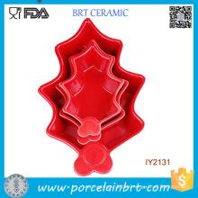 3PCS Wholesale Red Ceramic Cookie Mould Cookware Set