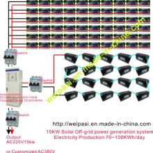 Sistema de geração de energia off-grid solar de 15KW; Produção de eletricidade 70 ~ 100KWh / dia