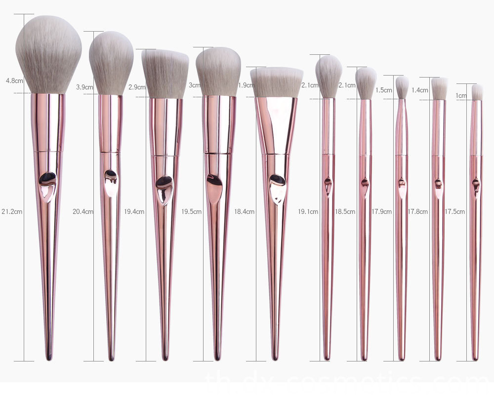 10 Piece Rose Gold Makeup Brushes Set Size