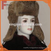 Russia natural brown color winter real fur Hare rabbit fur hat