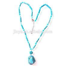 Collier pendentif turquoise Bohème