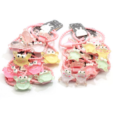 100PCS/Lot Baby Girls Candy Color Rubber Bands Children Elastic Hair Bands Ponytail Holder Cartoon Star Crab Hair Accessories