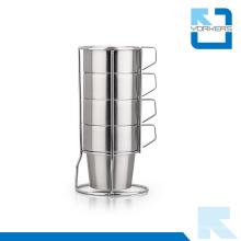 4 pièces de tasse de café en acier inoxydable et tasse de lait avec étagère stable