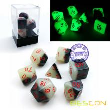 Bescon Gemini Glowing Polyhedral Dice 7pcs Set GREEN DAWN, Luminous RPG Dice Set d4 d6 d8 d10 d12 d20 d%, Brick Box Packaging