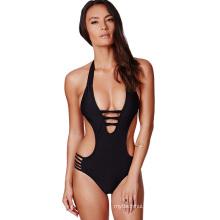 Europe sexy women swimwear beachwear hanging neck black unlined bikini swimwear