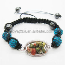 New design 10MM Blue Crystal balls woven bracelet