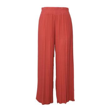 Pantalones de pierna ancha de rayón arrugado Pantalones de mujer