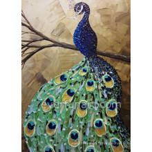 Peinture à l'huile Peacock à couteaux faits à la main